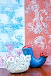 Collection of hand screen printed wallcoverings and textiles, dedicated for furniture upholstery and soft furnishing. Patterned cushions, lampshades and curtains. Original patterns designed and printed by surface designer Justyna Medoń. Addicted to patterns Bristol based design & print studio.