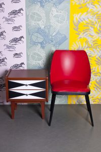 Unique wall designed and printed for individual client SH Studio in Warsaw. Red Poppy collection presents Zebras, Inspired by 60's and Palm trees wallpaper. Hand screen printed oryginal patterns designed by surface designer Justyna Medoń.