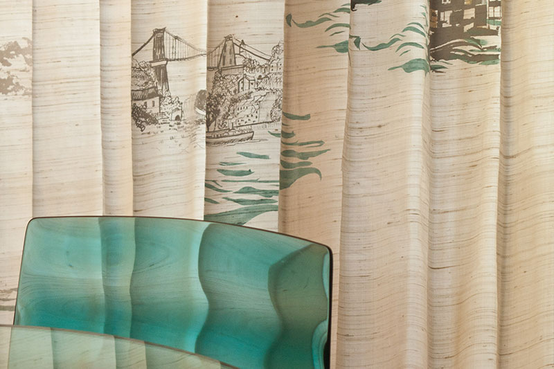 Bespoke Bristol themed silk curtains